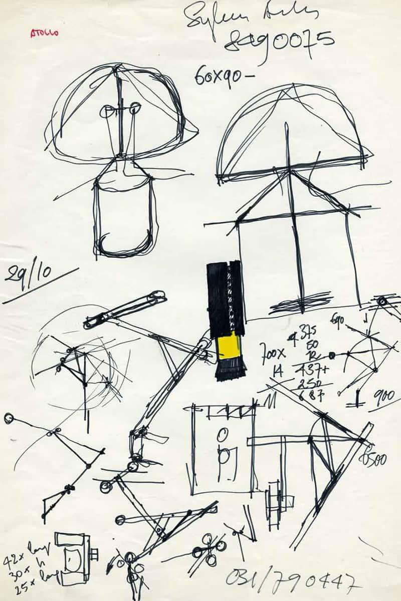 Making of Light - Come si fa la luce - Compasso d'Oro 1979 - 01_Atollo schizzo Vico Magistretti