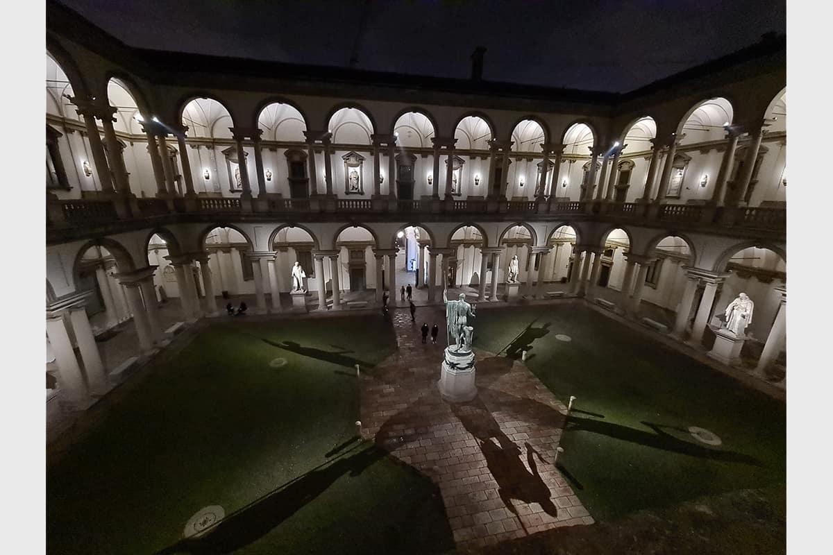 02 Making Of Light Brera Di Sera Reloaded Pinacoteca Di Brera Illuminazione Cortile 02