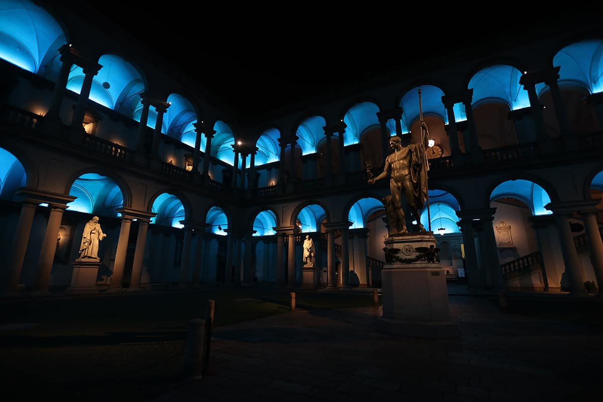 05 Making Of Light Brera Di Sera Reloaded Pinacoteca Di Brera Illuminazione Cortile 05