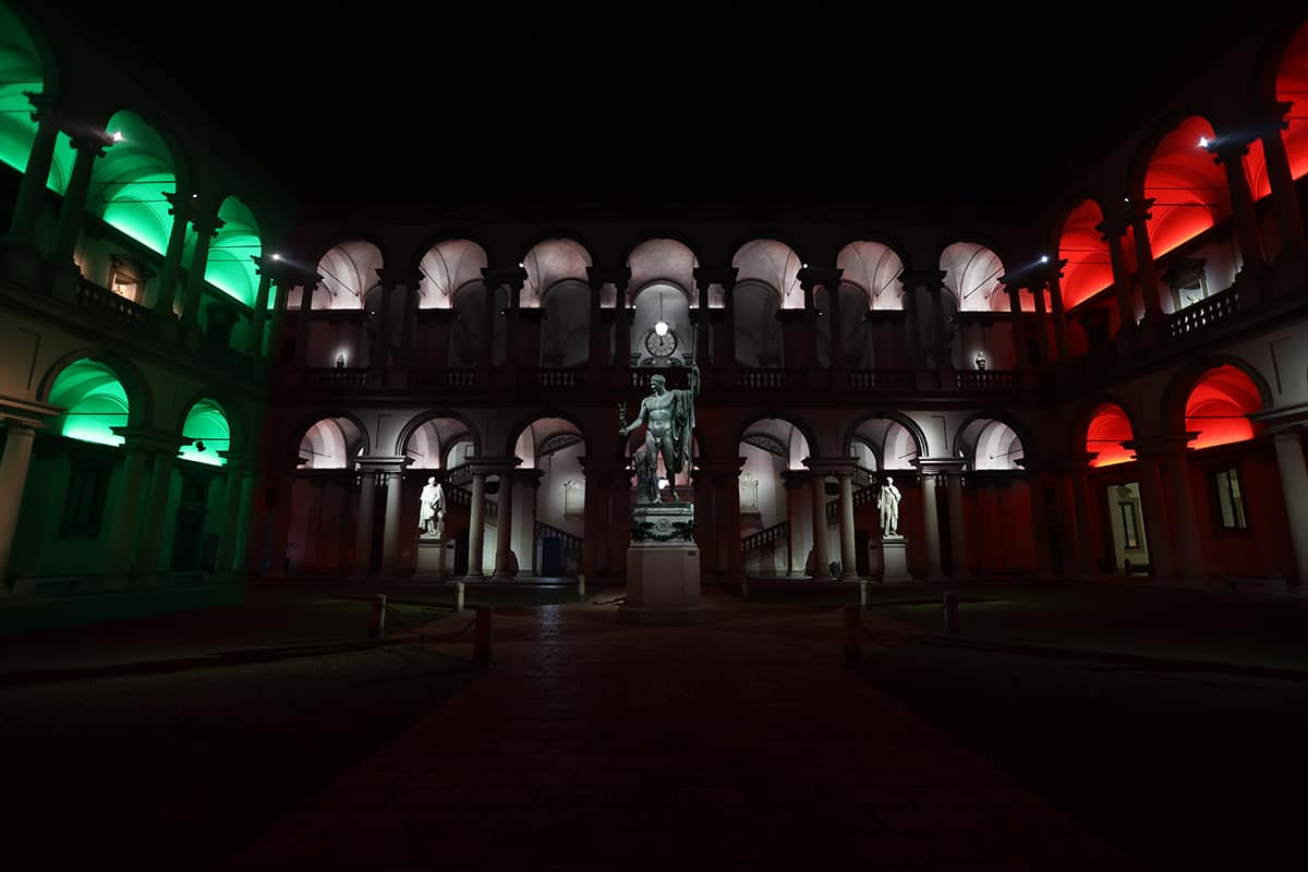 07 Making Of Light Brera Di Sera Reloaded Pinacoteca Di Brera Illuminazione Cortile 07