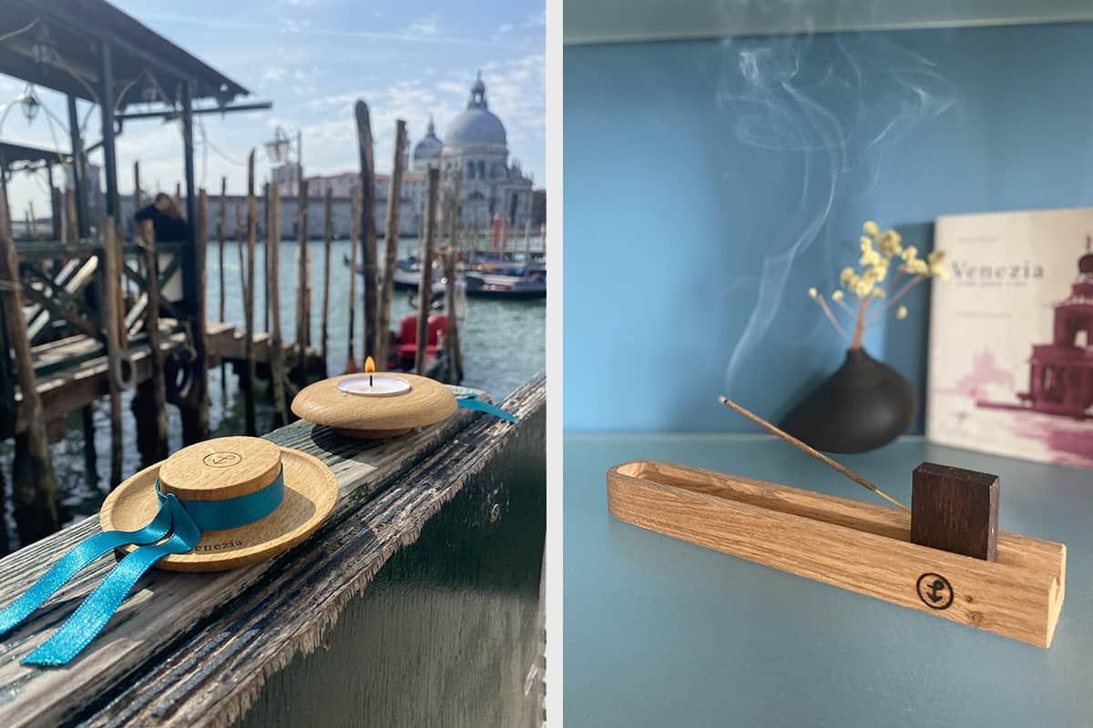 07 Making Of Light Legno E Luce Sociale A Venezia Calamita Portacandelina Cappello Gondoliere